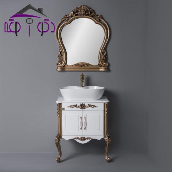 ست روشویی کابینتی سفید طلایی کد 1387