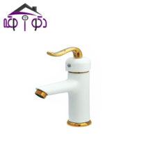 شیر روشویی مدل آلفا سفید طلایی کرومات