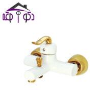 شیر حمام مدل آلفا سفید طلایی کرومات