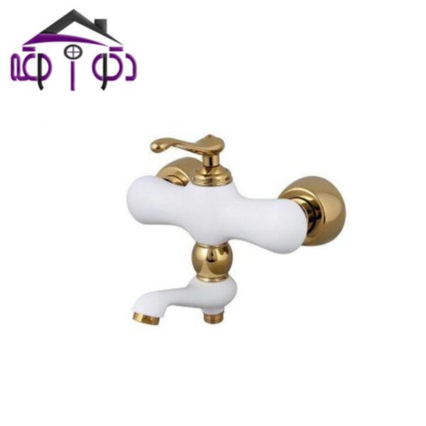 شیر حمام مدل ماموت سفید طلایی کرومات
