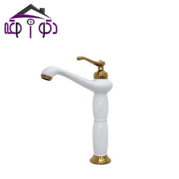 شیر روشویی پایه بلند مدل ماموت سفید طلایی کرومات