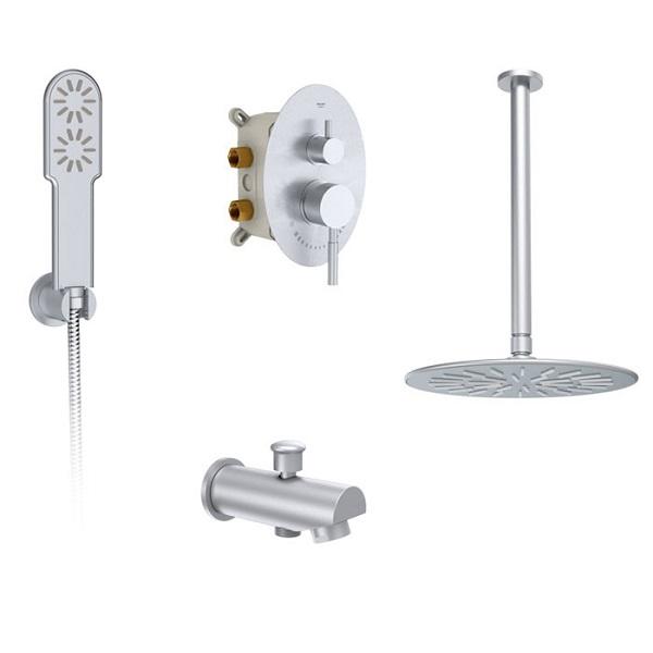 Built-in shower faucet model Rogen Chrome (brass head) type 1