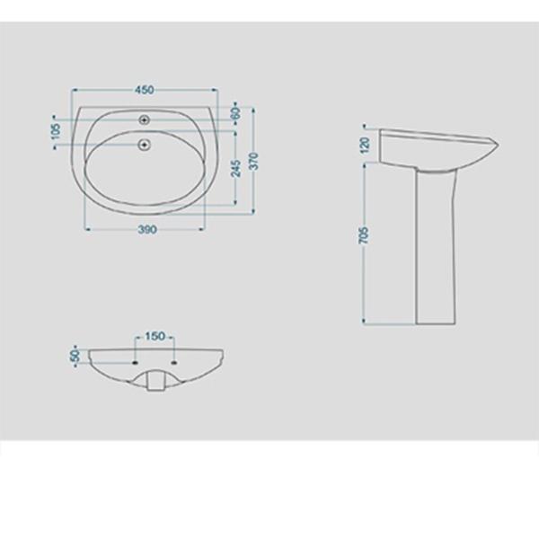 روشویی پایه دار گلسار فارس مدل آرین 45