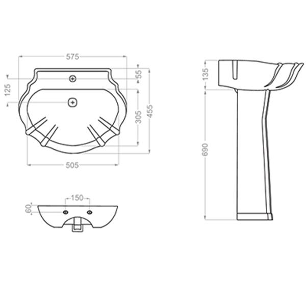 روشویی پایه دار گلسار فارس مدل اطلس ۵۵