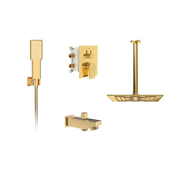Built-in shower faucet, golden romer model (brass head) type 1