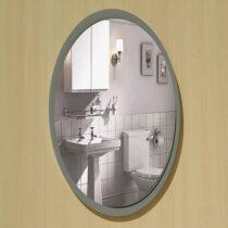 Round gray bathroom mirror