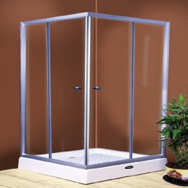 Shower room - glass bath